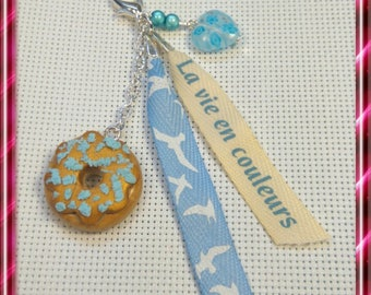 """Keychain """"Delicious"""" polymer clay, heart & Ribbon"""