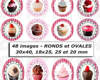 48 digital images for cabochon theme Cupcake ovals and round rose red chocolate brown - round and oval