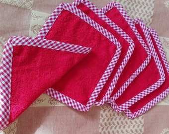 set of 6 large reusable wipes in Terry cotton for baby or adult