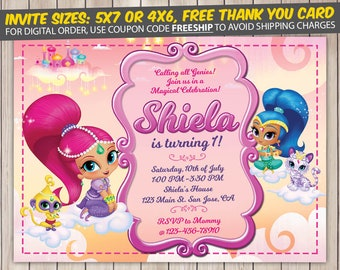 Shimmer and Shine Invitation, Shimmer and Shine Birthday, Shimmer and Shine Birthday Invitation, Shimmer and Shine Party, Invite