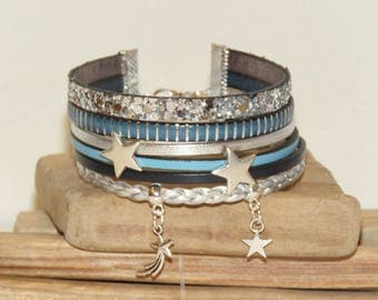 """Stars constellastion"" Cuff Bracelet leather, leather glitter, different blue and silver color"