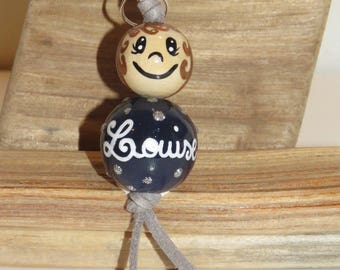 "Keychain made of wood beads or jewelry bag ""smile ball"" figurine entirely hand painted and personalized with name"