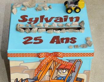 Birthday box, theme, groomer, snow, construction vehicles, blue, orange, gray, customizable colors.