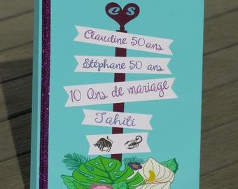 Livre d'or pour anniversaires et anniversaire de mariage - voyage au soleil - theme Tahiti