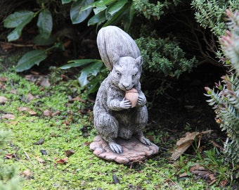 Squirell with nut garden ornament decor gift