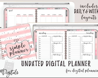 Digital iPad Planner for Goodnotes with Functioning Tabs   Daily Weekly Monthly Layouts   Pink Digital Planner With Budget & Meal Planning