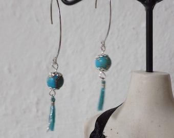 Pearl and turquoise tassel earrings