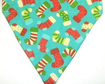 Reversible Christmas Stockings / Multi Colored Christmas Stripe Bandana