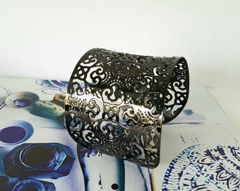 ROCK - Black ruthenium plated steel cuff Bracelet
