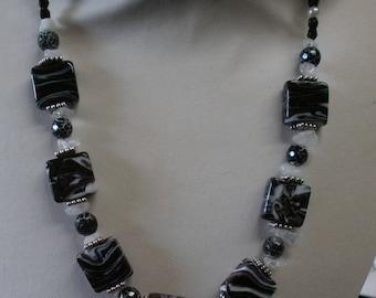 110 - Black and white Zebra Bead Necklace