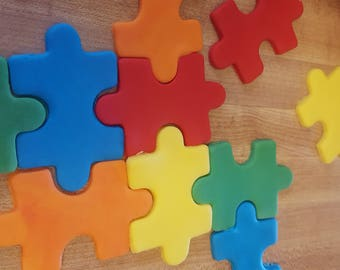 Autism Puzzle Pieces Fondant Cupcake Toppers