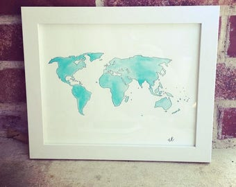 Watercolor - world map