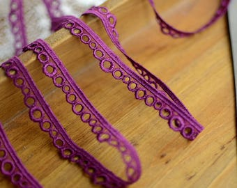 Guipure lace embroidered purple Largeur1.2cm L012008