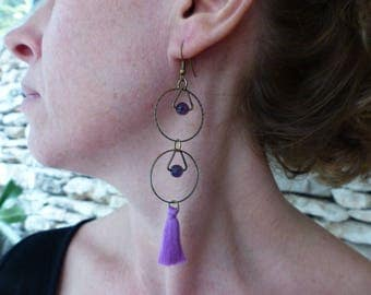 "Earrings tassels and purple amethysts ""Andromeda"""