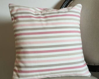 Housse de coussin 40 x 40 cm, taie d'oreiller, rayé rose pâle, prune, marron clair et foncé, blanc