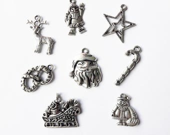 Noël Lot of 8 charms in silver