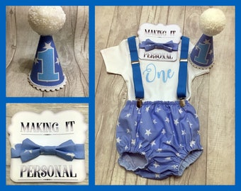 Boys 1st Birthday Cake Smash Outfit Blue White Star Party Hat Nappy Pants Braces Bow Tie Bodysuit Vest Glitter Vinyl One READY TO POST!!