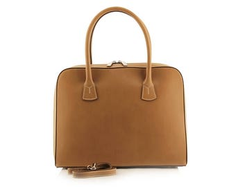 Small Cognac Satchel Bag