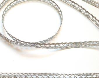 Lace polyamide silver Lurex 1 cm