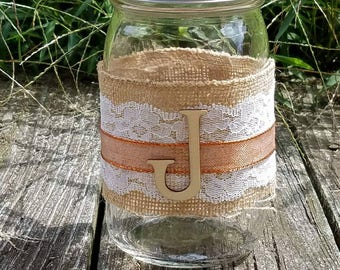Burlap and Lace Mason Jar with Letter