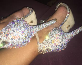 custom wedding/Prom Shoes with swarovski crystals