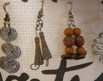 aluminum, wood beads and wire earrings