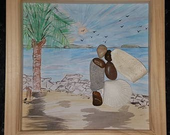 The Honeymoon lovers pebble art picture