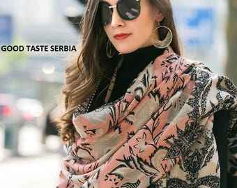 Pashmina Shawl Cashmere Scarf Rose Pashmina Scarf Rose Black Wrap Wedding Shawl Flowers Rose Shawl Oversized Wool Scarves Women's Rose Scarf