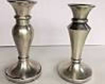 Restoration Hardware Brushed Nickel Traditional Candle Sticks Holders Pair 5""