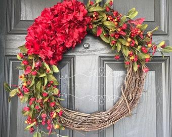 Fall Wreath - Autumn Wreath - Red Wreath - Welcome Wreath - Front Door Wreath