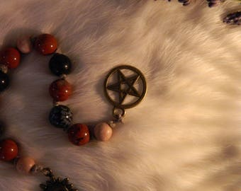 Mini Beaded Witch's Ladder, Traveler's Pagan Sun and Fire Beads
