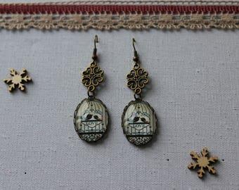 Earring, retro, birdhouse, glass cabochon