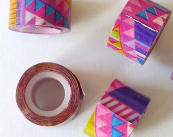 3 x mini rolls scotch geometrical print violet pink 12mm