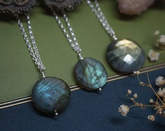 Labradorite Coin Necklace in Sterling Silver
