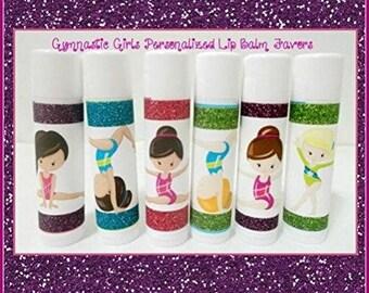 GYMNASTICS Girls Lip Balm - Gymnastics Team Gifts - Gymnastics Party Favors - Free Personalization - Set of 10