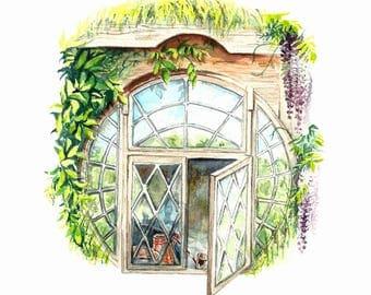 Literary Window Series: The Hobbit inspired 5x7 Watercolor Art Print, Nursery Art, Children's Books, Classic Literature, Tolkien