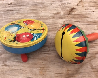 2 Tin Lithograph Noisemakers, 1930s, New Years Toy, T. Cohn, Celebration Rattles