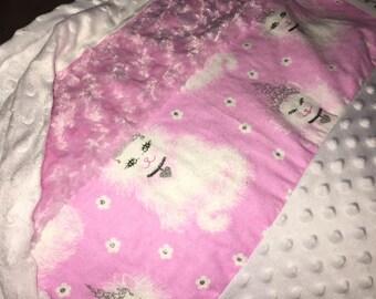 Minky white kitten blanket