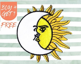 Sun Patches Moon Patch Iron On Patch Embroidered Patch Eclipse Dawn