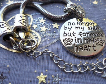 Pet memorial bracelet - No longer by my side but forever in my heart - silver plated