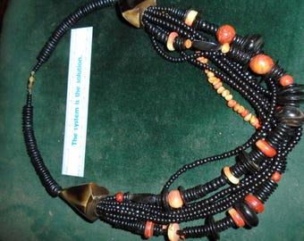 Wood and Black Beaded Multi-strand Necklace