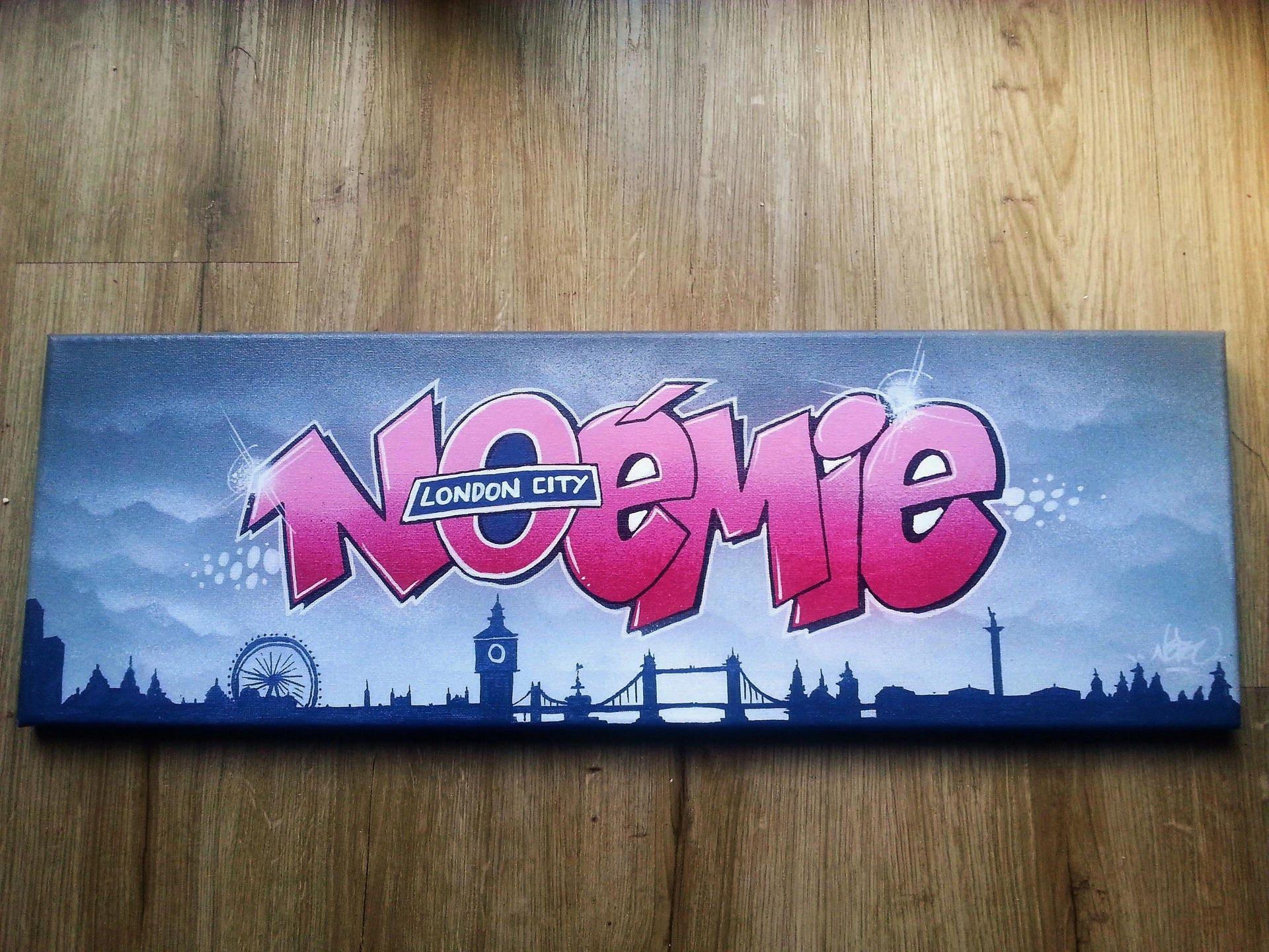tableau graff LONDON street art tag art décoration murale