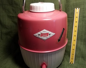 Vintage Pink Diamond 2 gallon thermos, pink thermos jug, coleman picnic thermos, Coleman pink