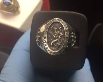 Solid Sterling Silver 925 Saint Christopher Men's Ring size 6-14