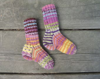 Knit Socks - Toddler size 2 1/2 - 3 1/2 - Wool Socks