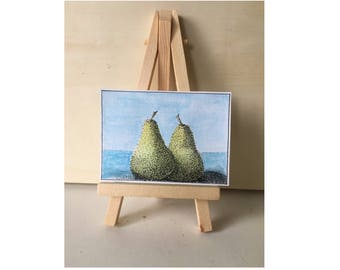 A Pair of Pears. Stippling effect. ACEO, ATC, art card