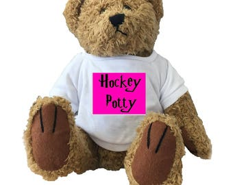 Hockey Potty Teddy Bear, Fantastic Field Hockey or Hockey Gift! For that Hockey Playing Muggle!