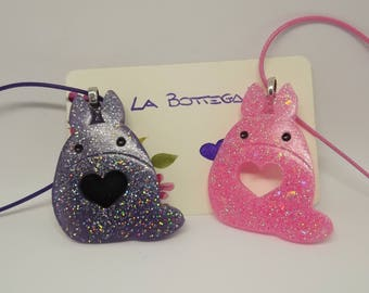 Resin creation-Totoro necklace purple pink pendant-Available different colors on request-Tonari No Totoro necklace