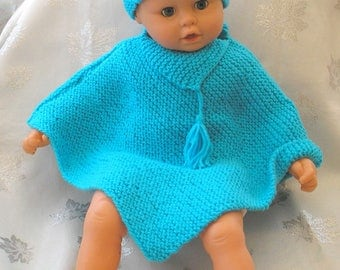 Poncho and turquoise wool baby hat size 3 months
