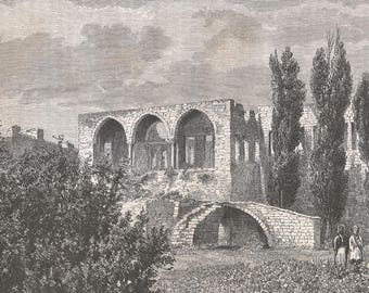 Palace of Aly el-Sughir, Syria 1881 - Old Antique Vintage Engraving Art Print - Children, Palace, Ruins, Arches, Windows, Trees, Grass